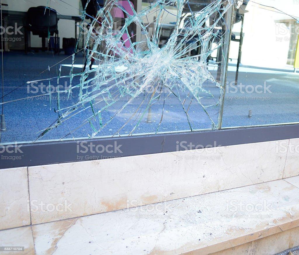 broken glass of an office stock photo