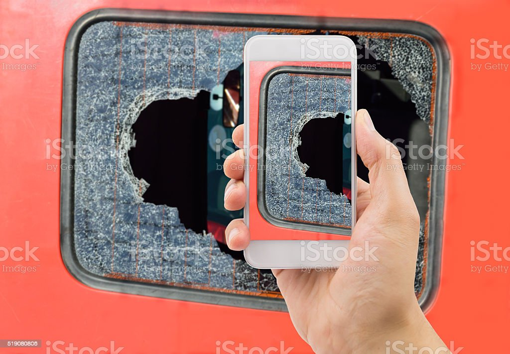 broken glass of my van stock photo