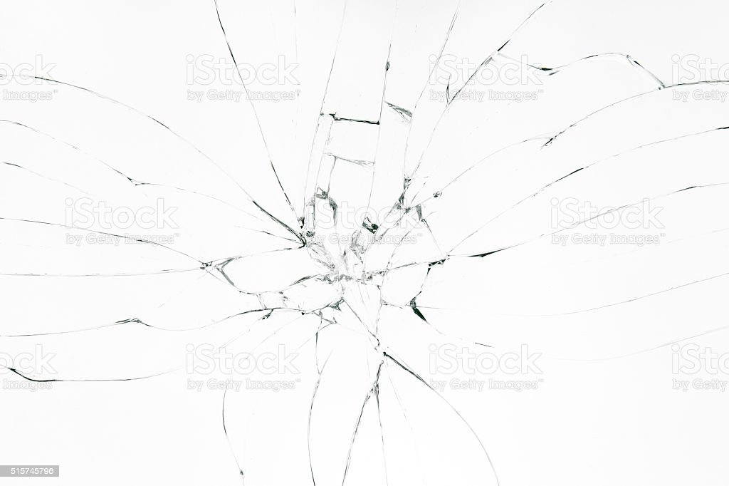 Broken glass on white background stock photo