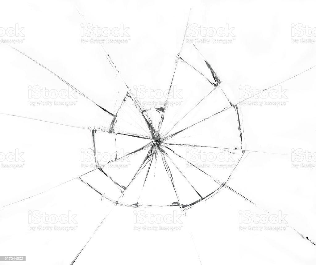 Broken glass on white background stock photo