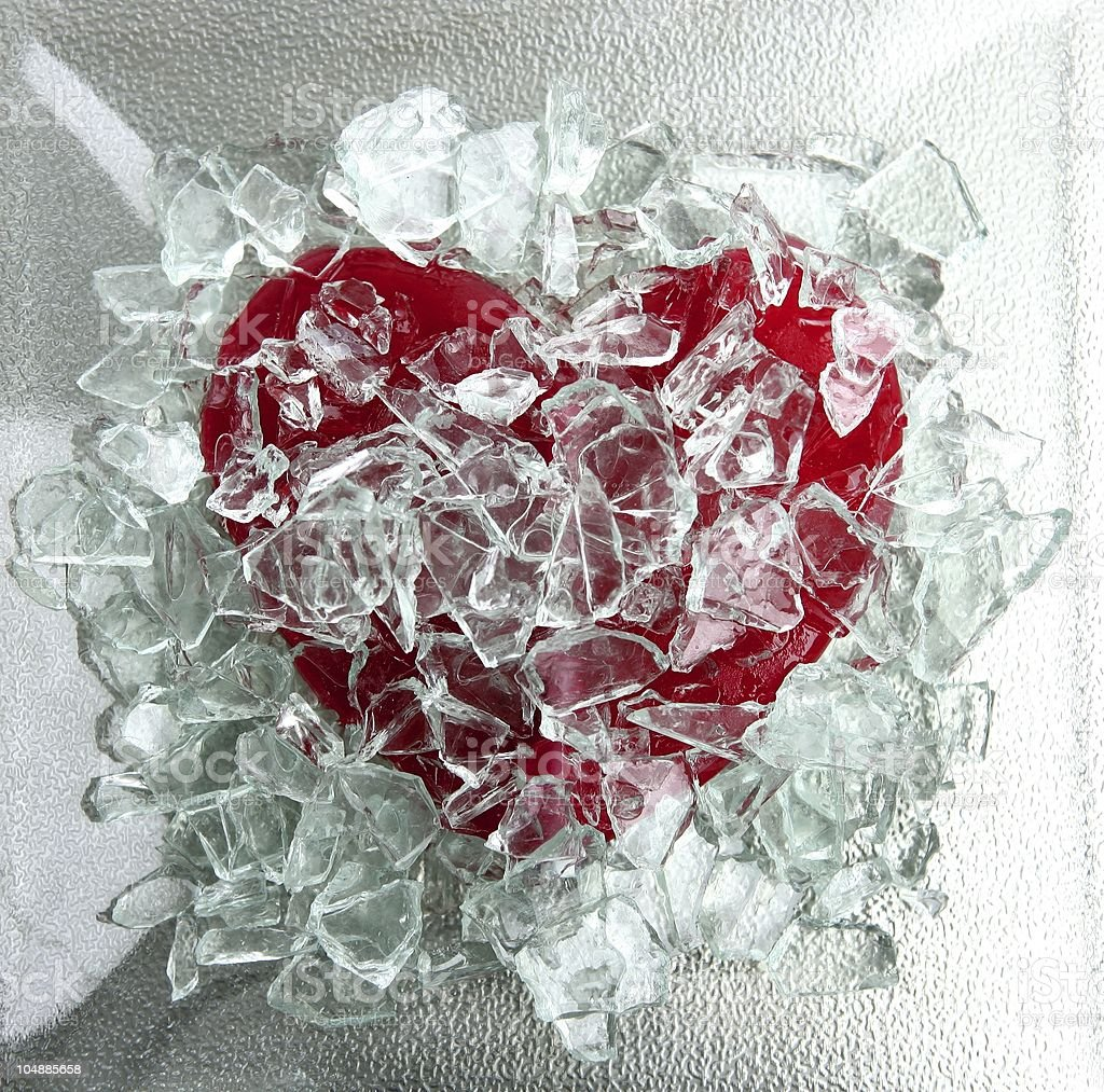 Broken glass red Valentine heart royalty-free stock photo