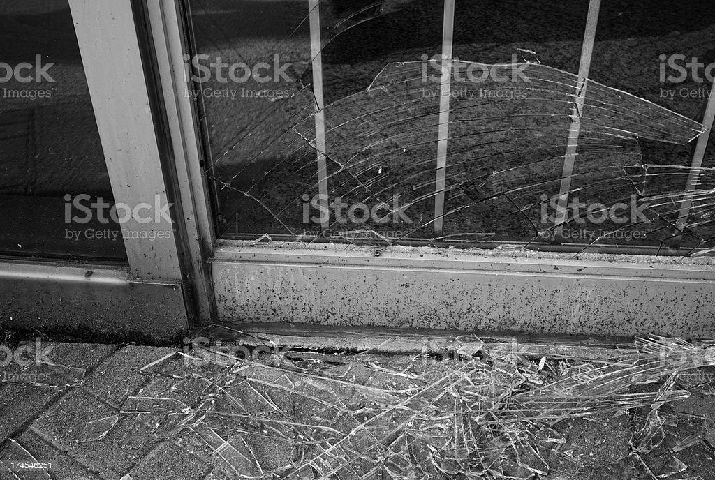 Broken glass storefront royalty-free stock photo