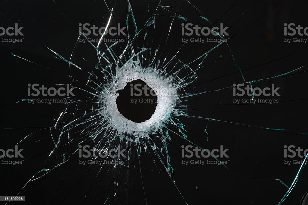Broken glass with hole royalty-free stock photo