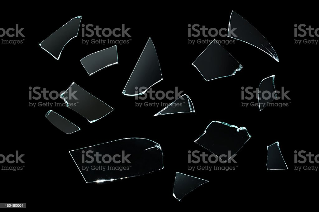 broken glass with sharp Pieces over black stock photo