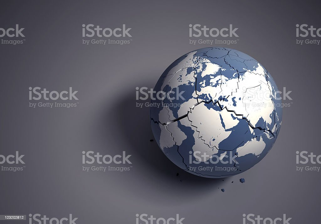 Broken globe concept for fragile world heritage royalty-free stock photo