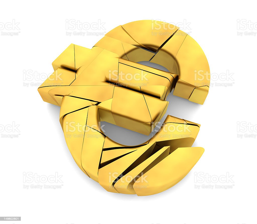 Broken Gold Euro Symbol royalty-free stock photo