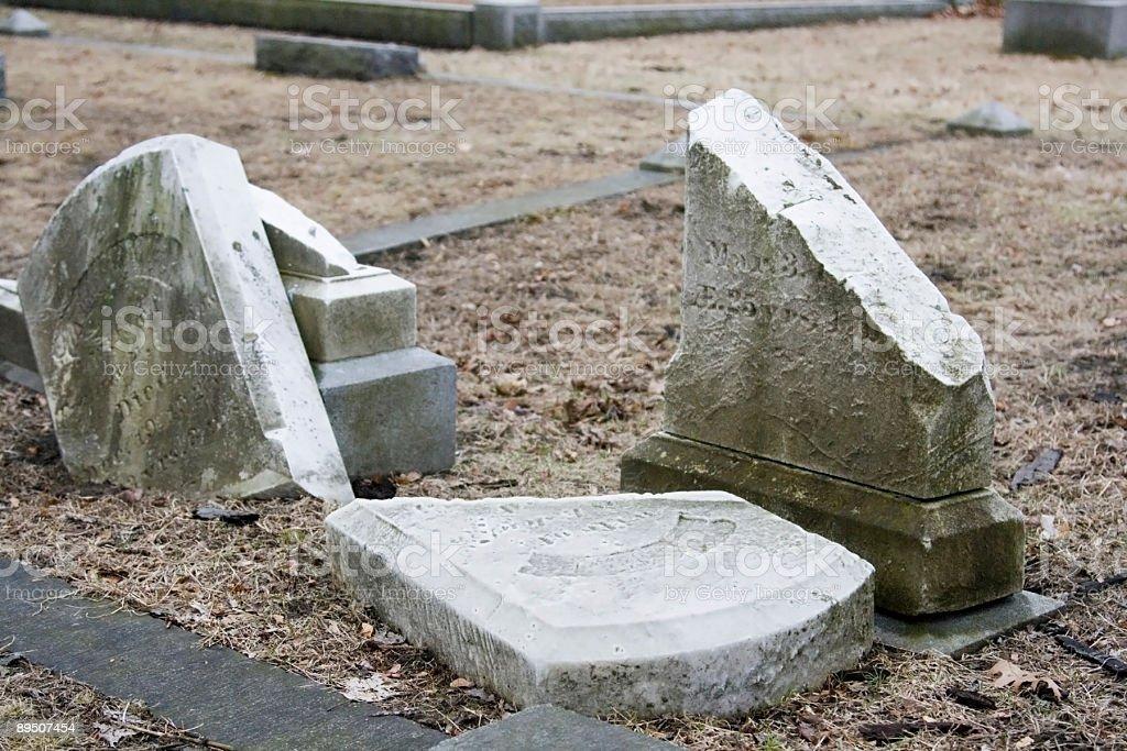 Broken Gravestones royalty-free stock photo