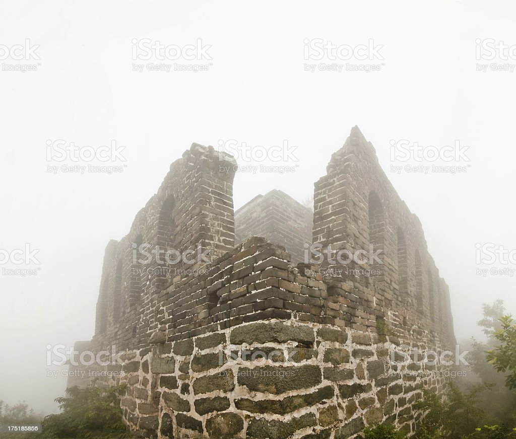 Broken Great Wall beacon in the fog royalty-free stock photo