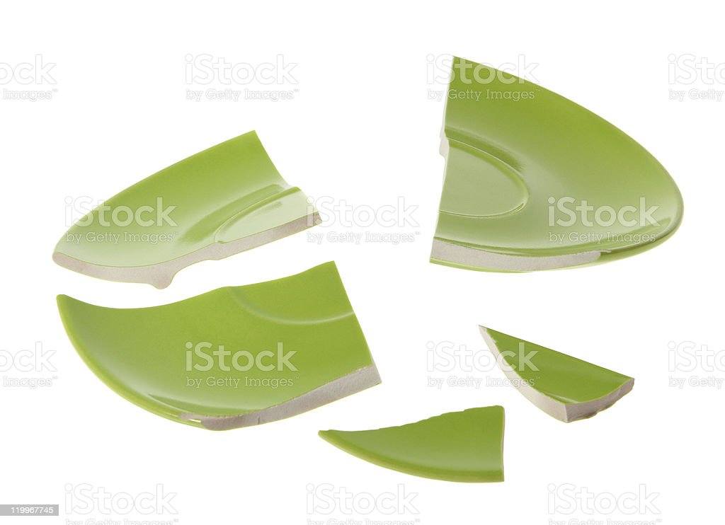 Broken green plate royalty-free stock photo