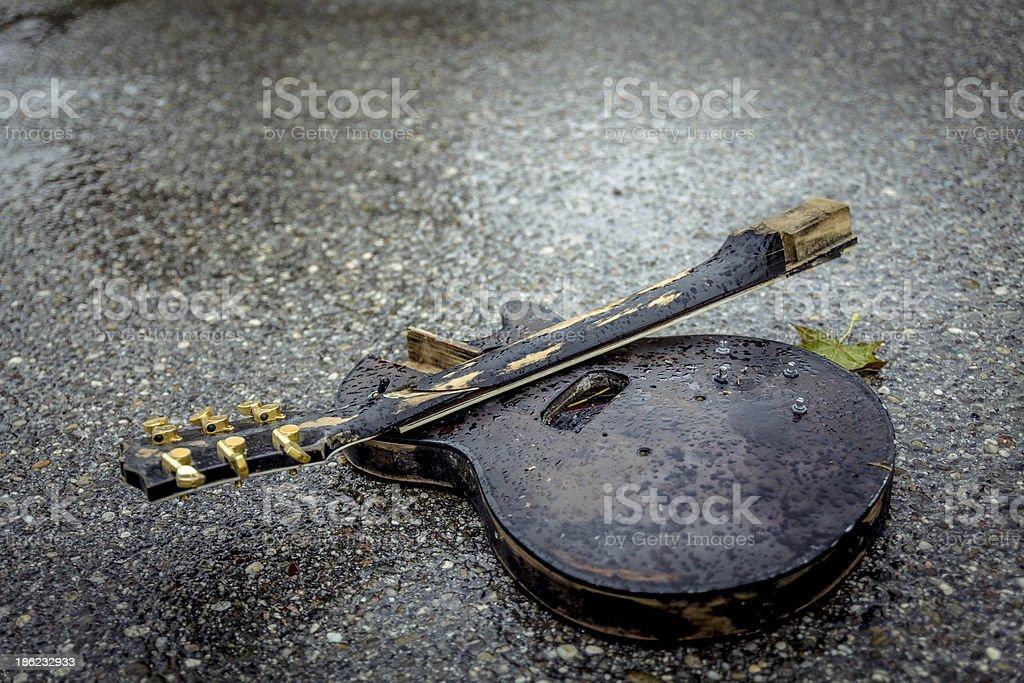 Broken guitar royalty-free stock photo