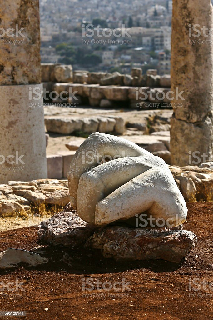 Broken Hand Sculpture, Jerash, Amman stock photo