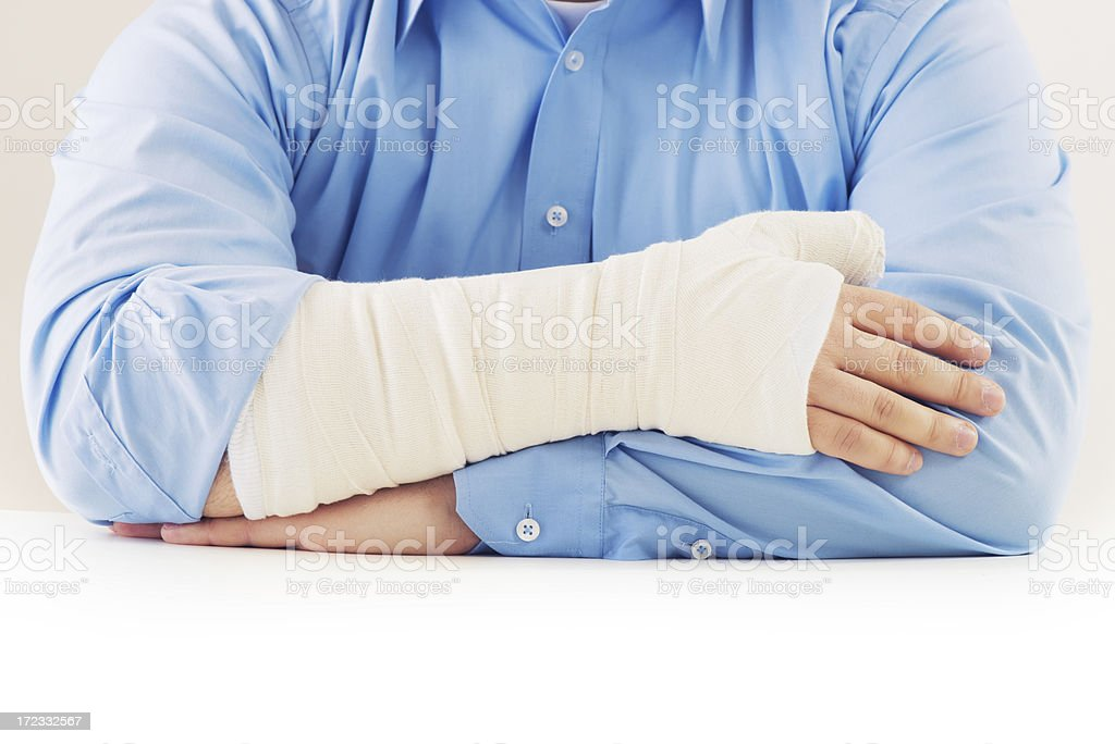 Broken hand with copy space royalty-free stock photo