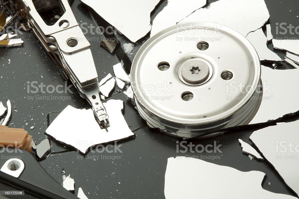 Broken hard disk drive HDD stock photo