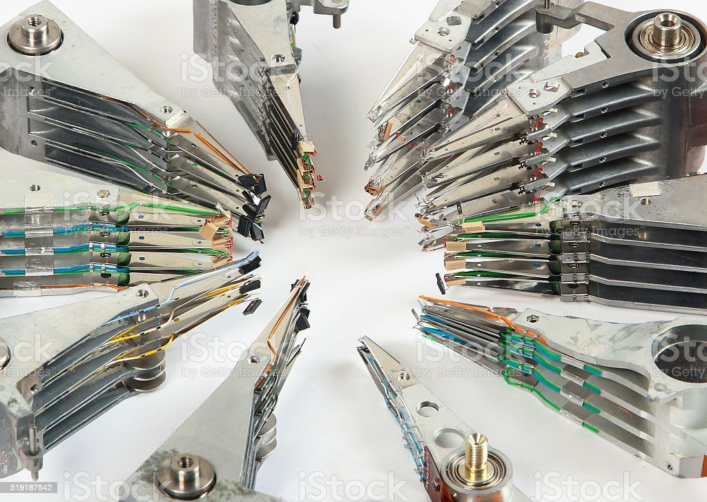 Broken headstacks of old hard drives stock photo