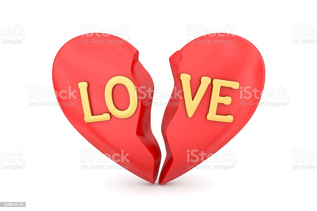Broken heart with golden letters stock photo