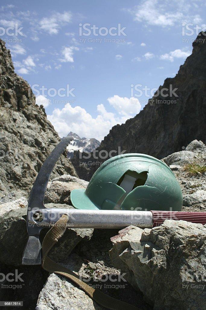 broken helmet and ice-axe royalty-free stock photo
