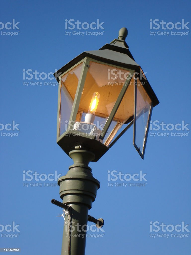 Broken hooligans street lamp stock photo