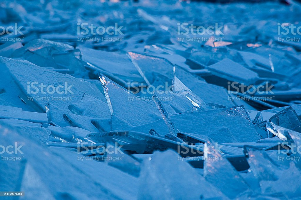 Broken Ice on shore of Lake Superior stock photo