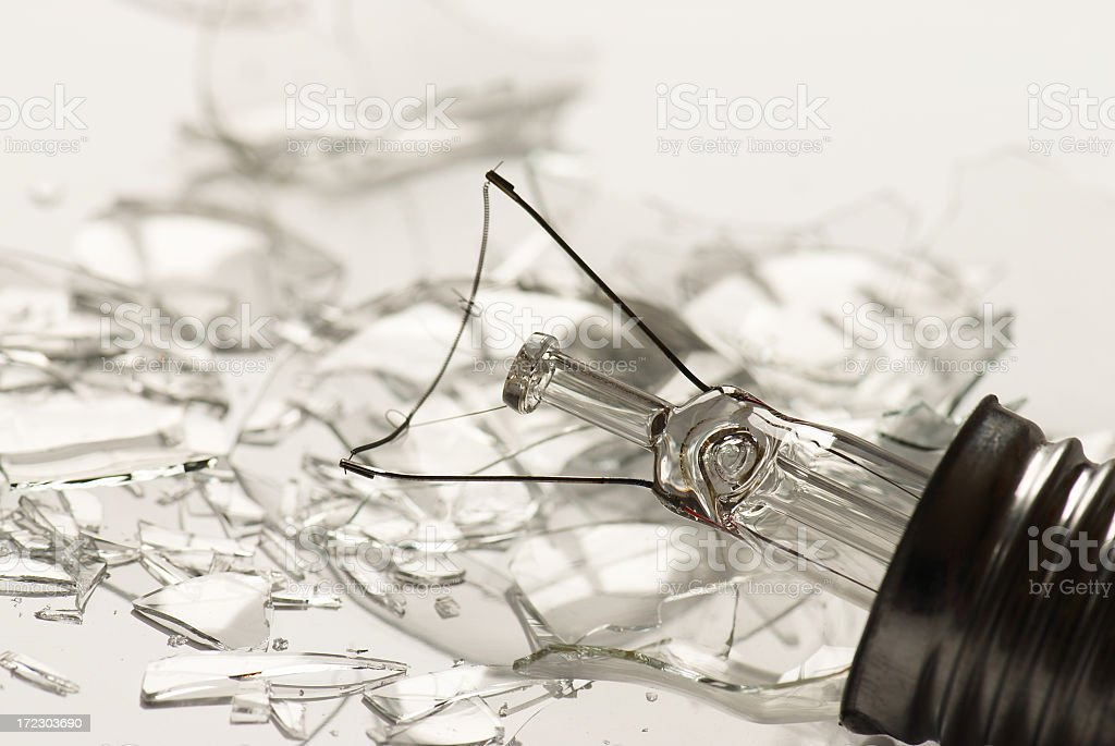 Broken incandescent light bulb symbolizing shattered ideas royalty-free stock photo