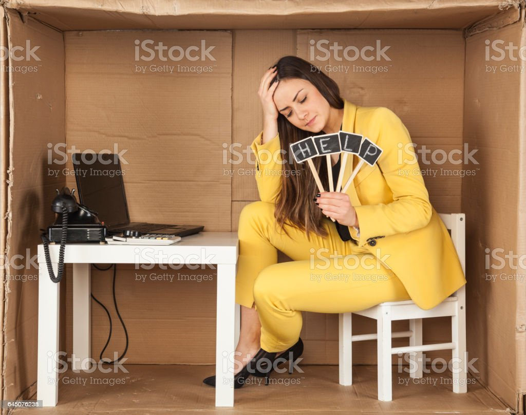 broken intern, asks for help, the stress in the office stock photo