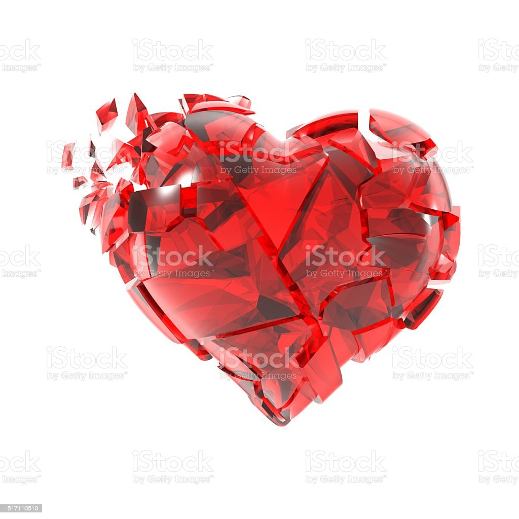 Broken into pieces of red glass heart. stock photo