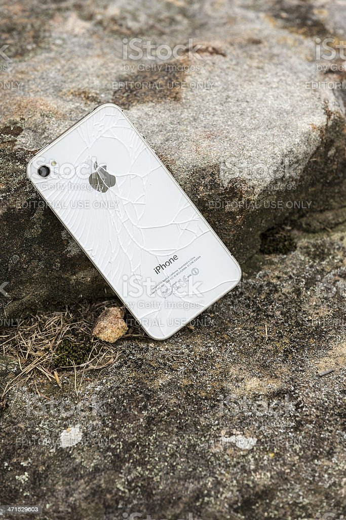 Broken Iphone 4s royalty-free stock photo