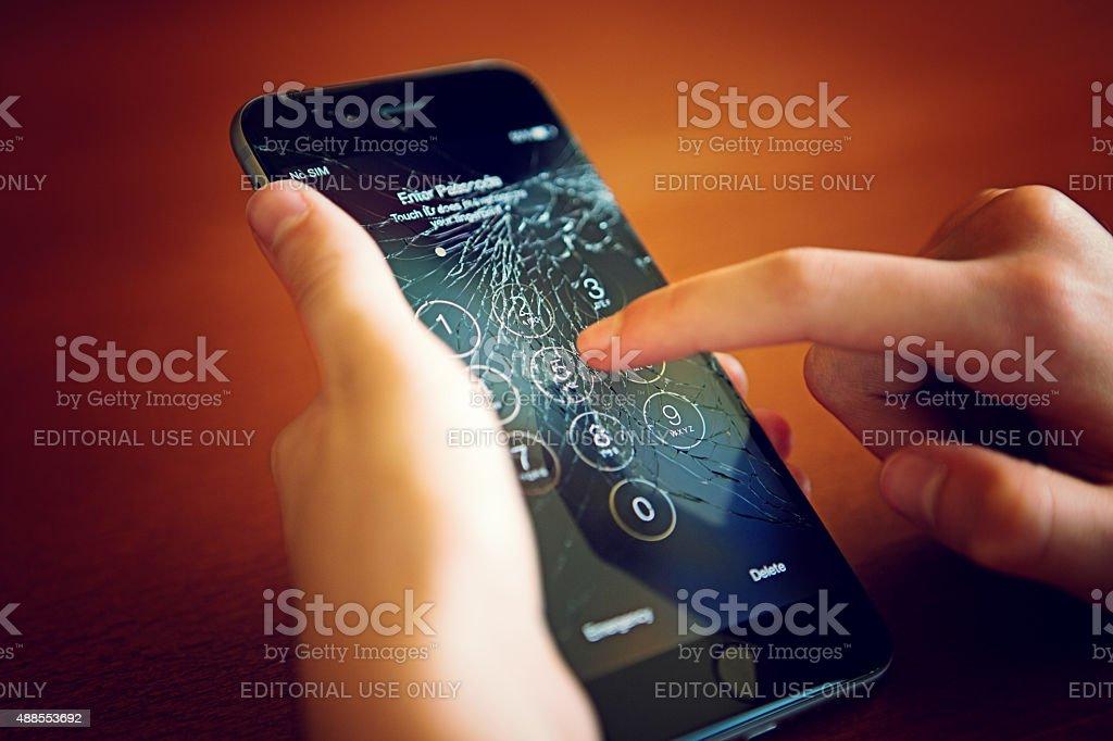 Broken Iphone 6 stock photo