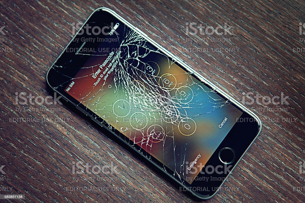 Broken Iphone 6 stock photo