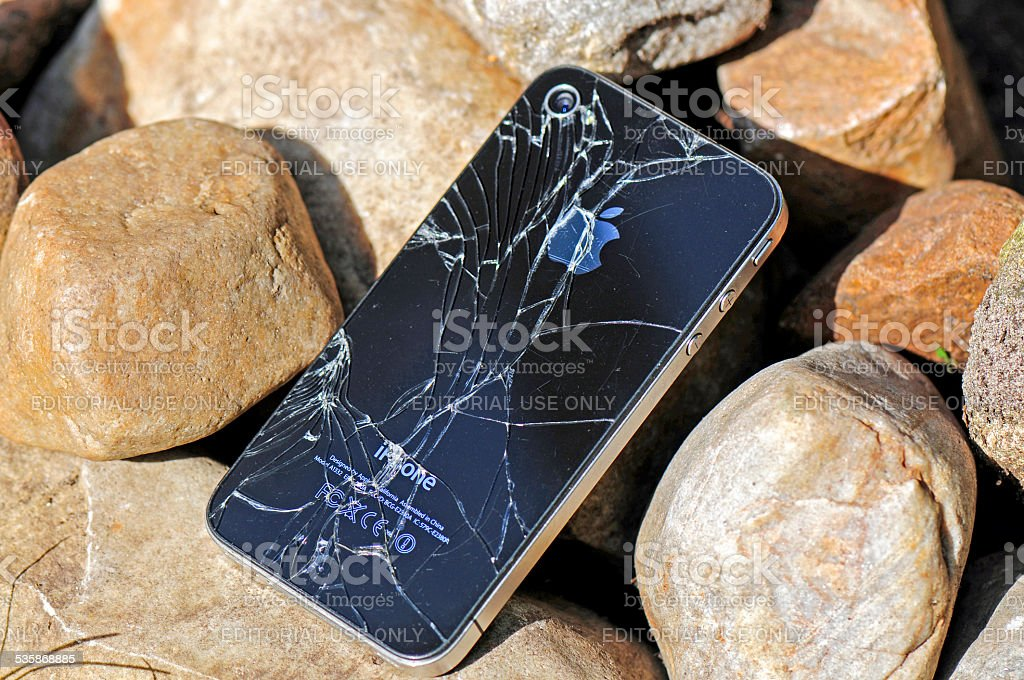 Broken iPhone stock photo