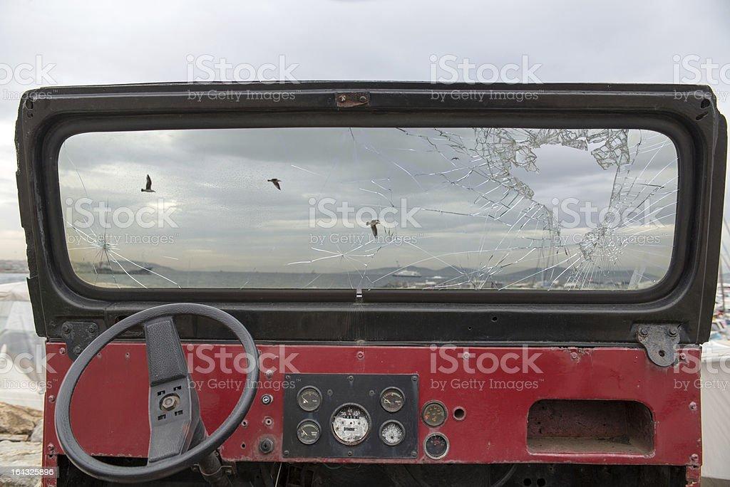 broken jeep glass royalty-free stock photo