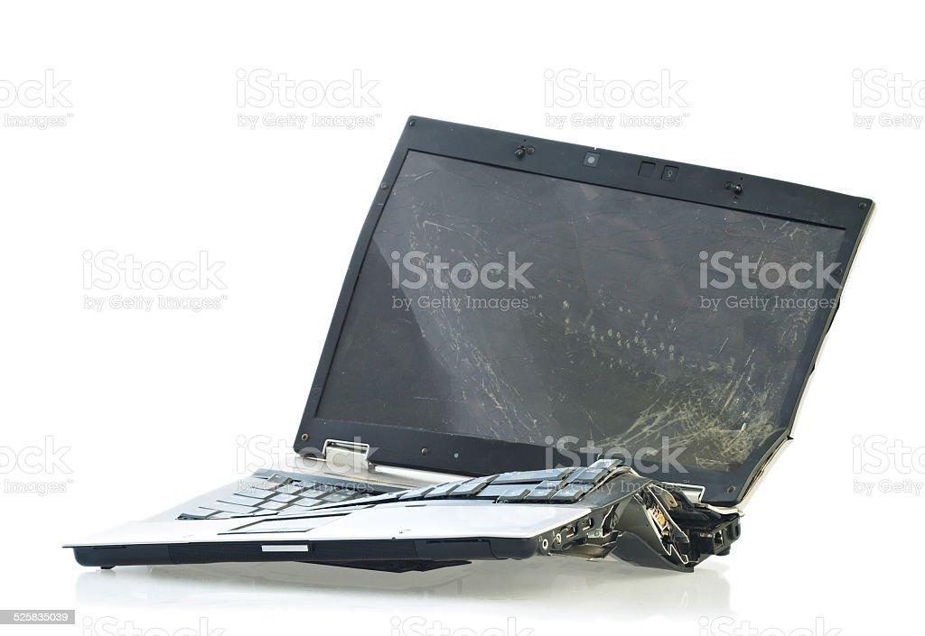 Broken laptop computer stock photo