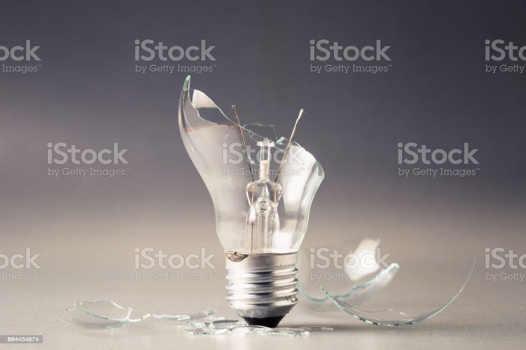 Broken light bulb stock photo