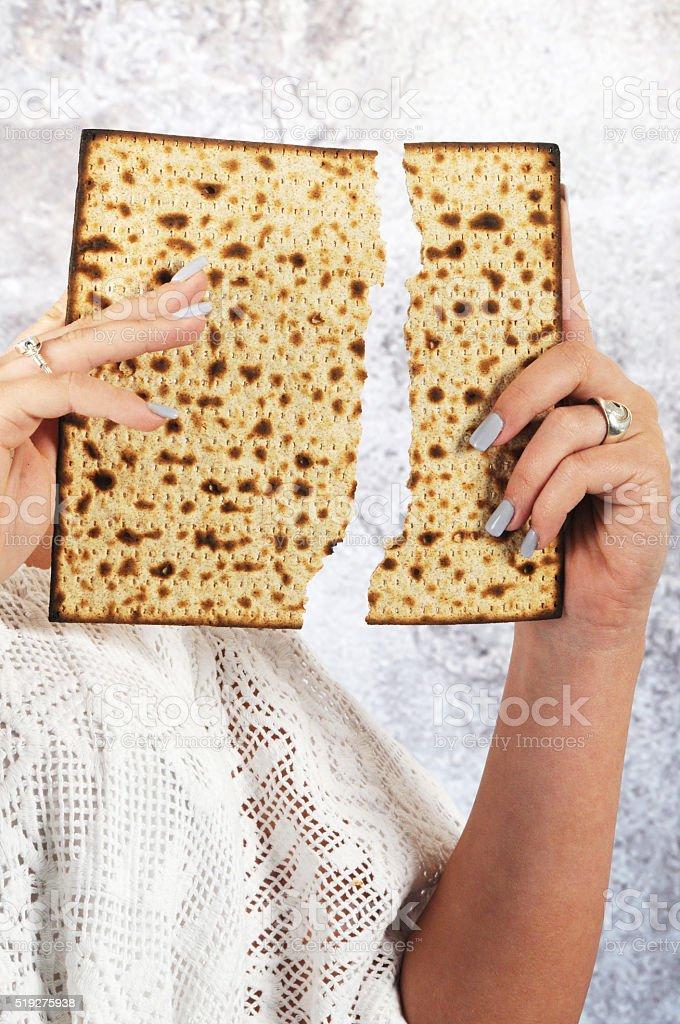Broken Matza - Passover stock photo