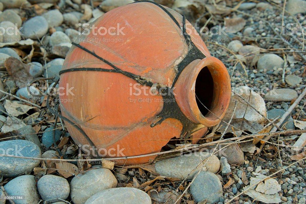 Broken Mexican Pot in Garden Xeriscape Gravel Landscape stock photo
