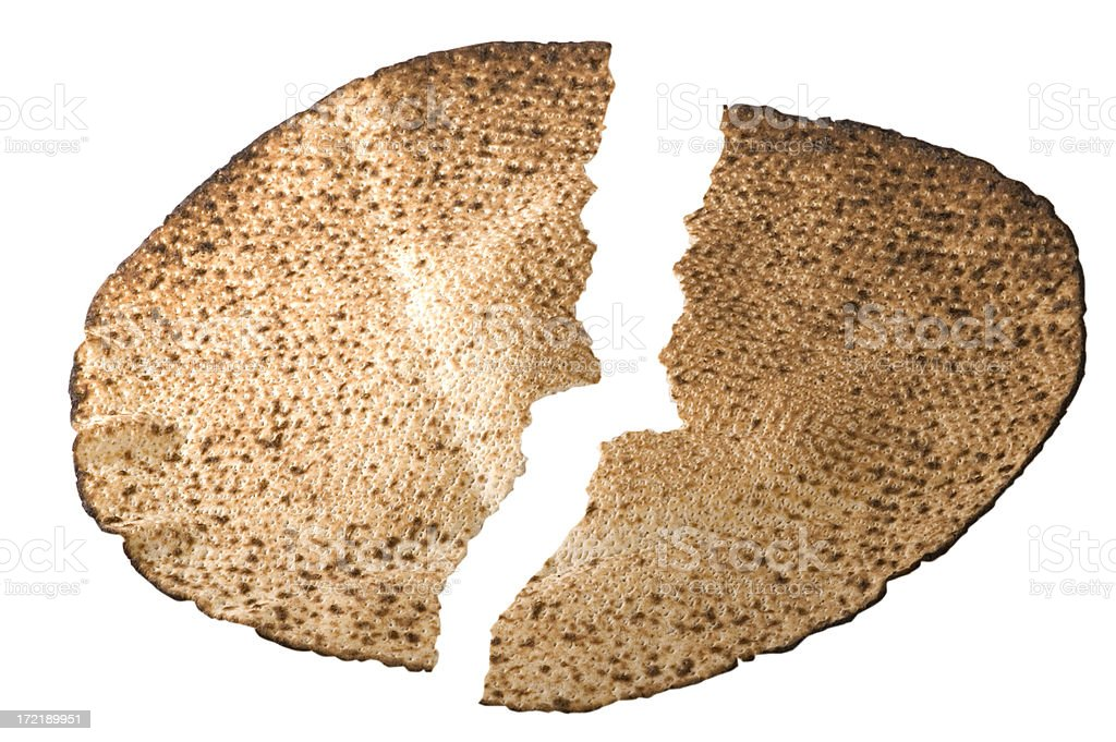 Broken Middle Matza stock photo