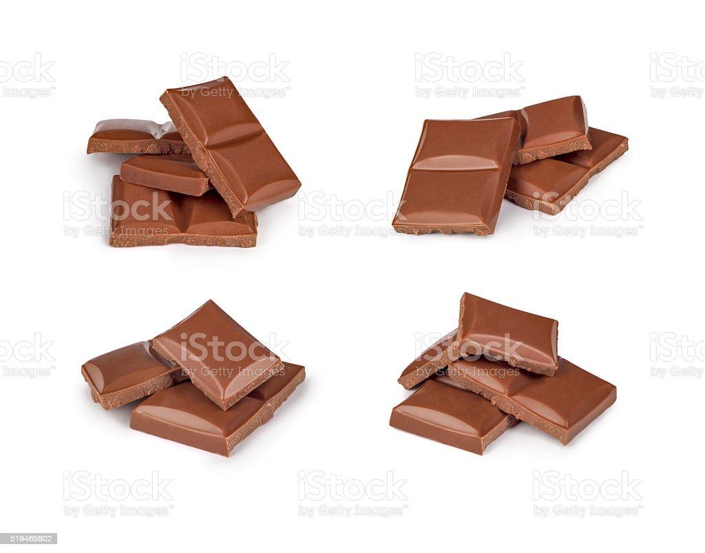 Broken milk chocolate bar set stock photo
