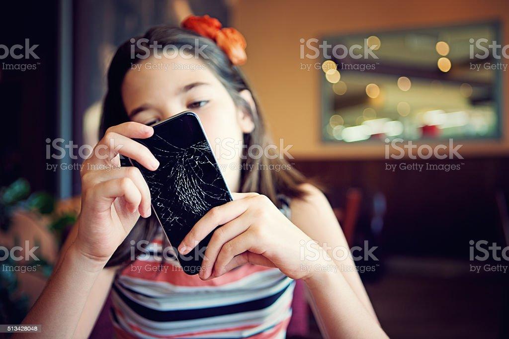Broken mobile phone stock photo