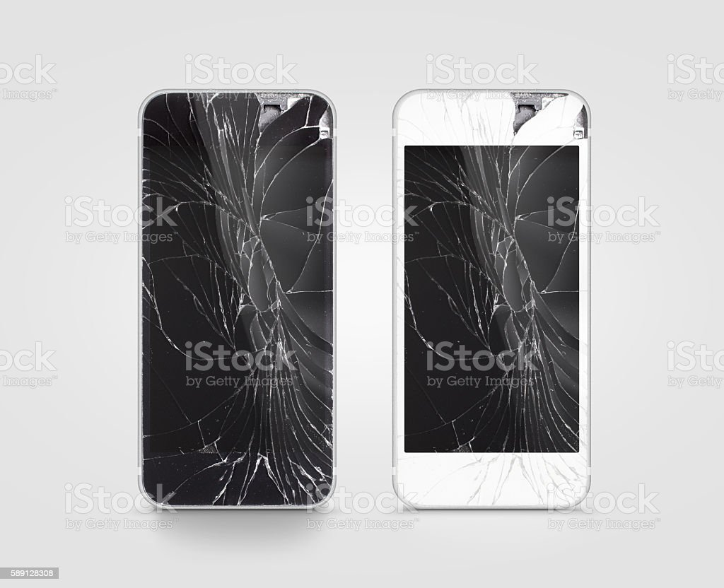 Broken mobile phone screen, black, white, clipping path. stock photo