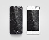 Broken mobile phone screen, black, white, clipping path.