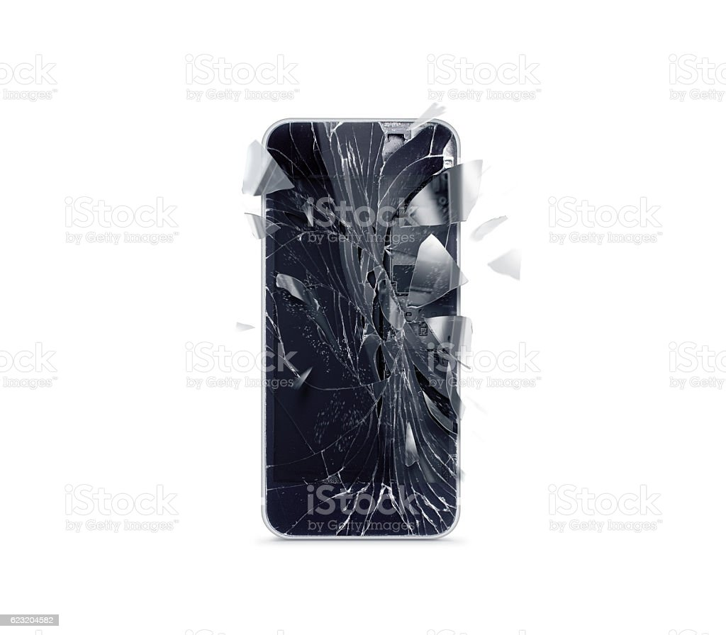 Broken mobile phone screen, scattered shards stock photo