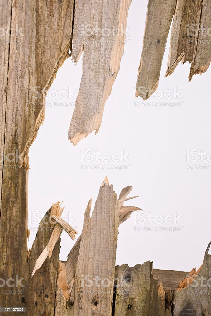 Broken old timber fence panel with a hole to the sky stock photo