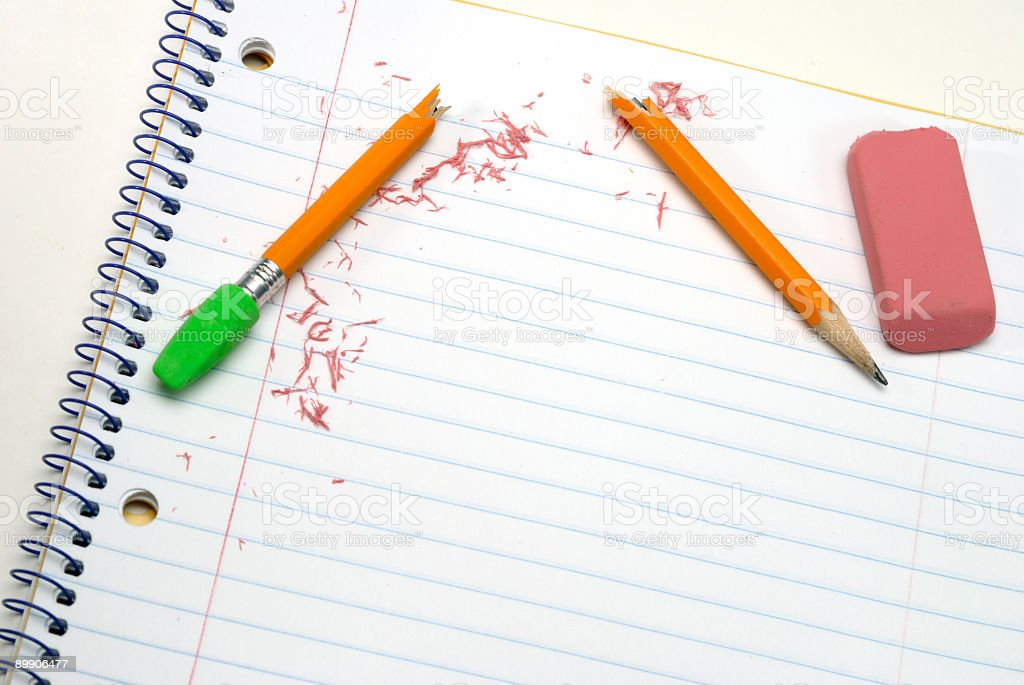 Broken pencil and mistakes stock photo