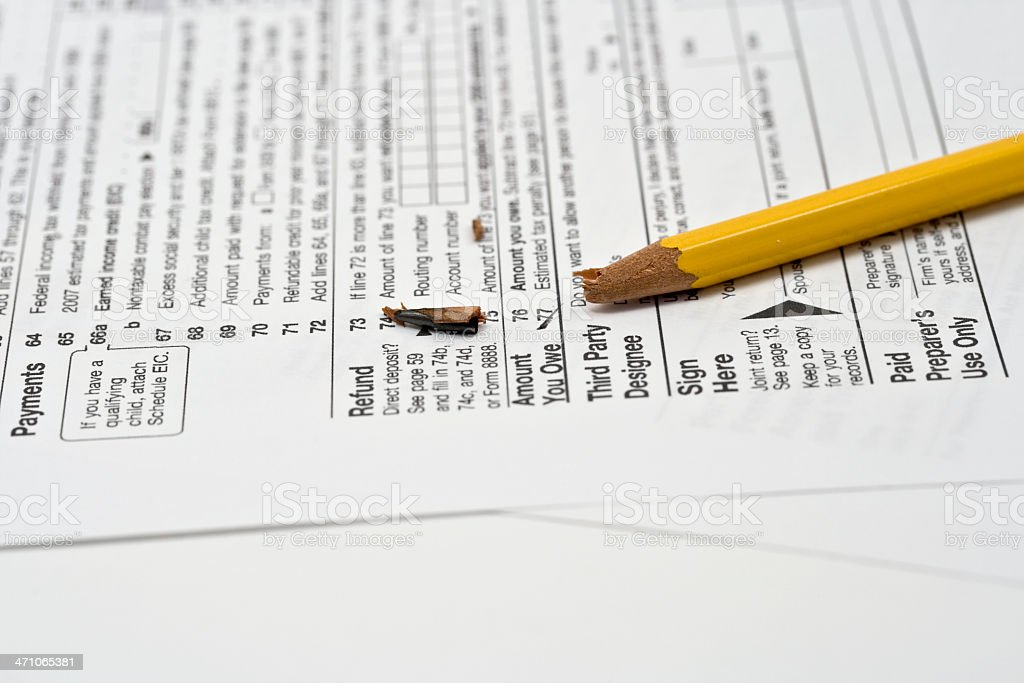 Broken Pencil Tip on 'Amount You Owe' part Tax Form royalty-free stock photo