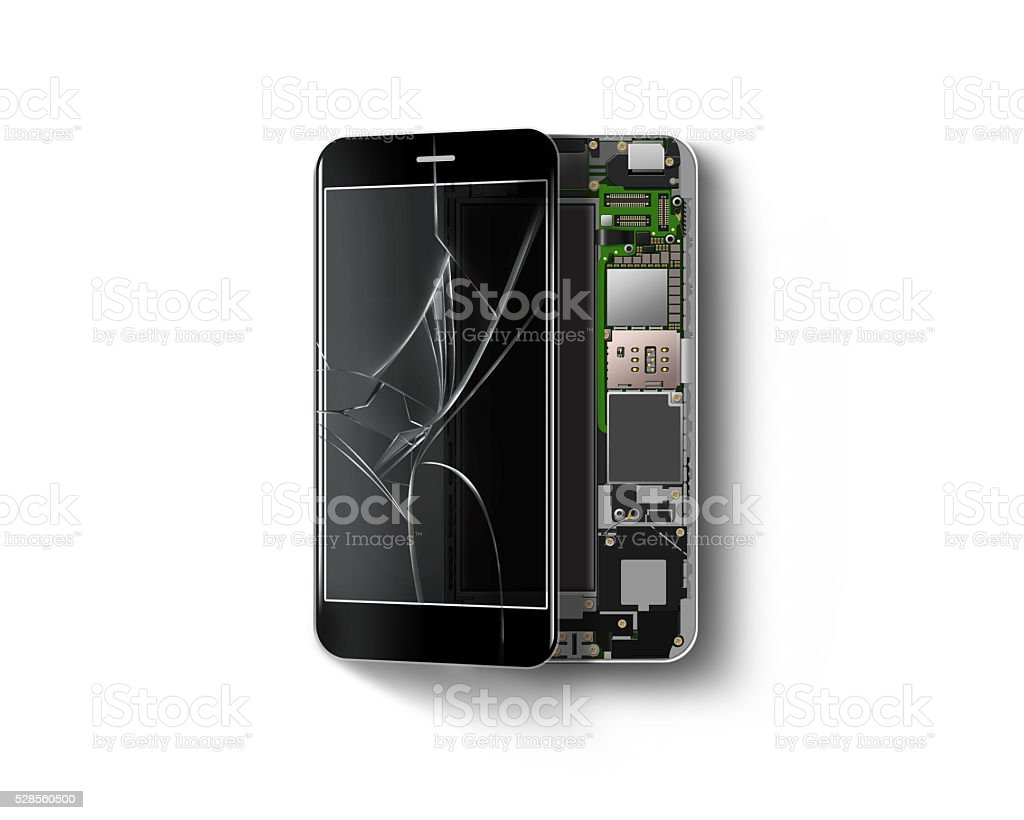 Broken phone inside isolated, chip, motherboard, processor, cpu stock photo
