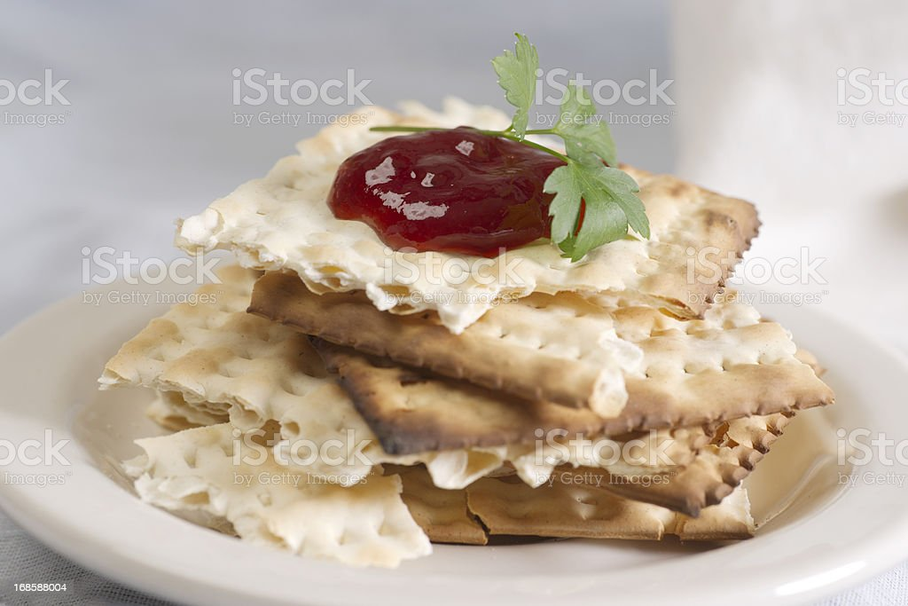 Broken Pieces of Egg Matzos royalty-free stock photo