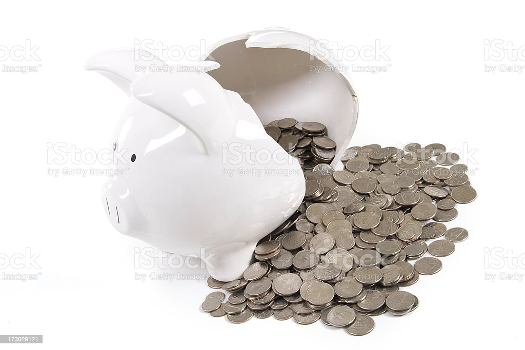 Broken Piggy Bank from Above stock photo