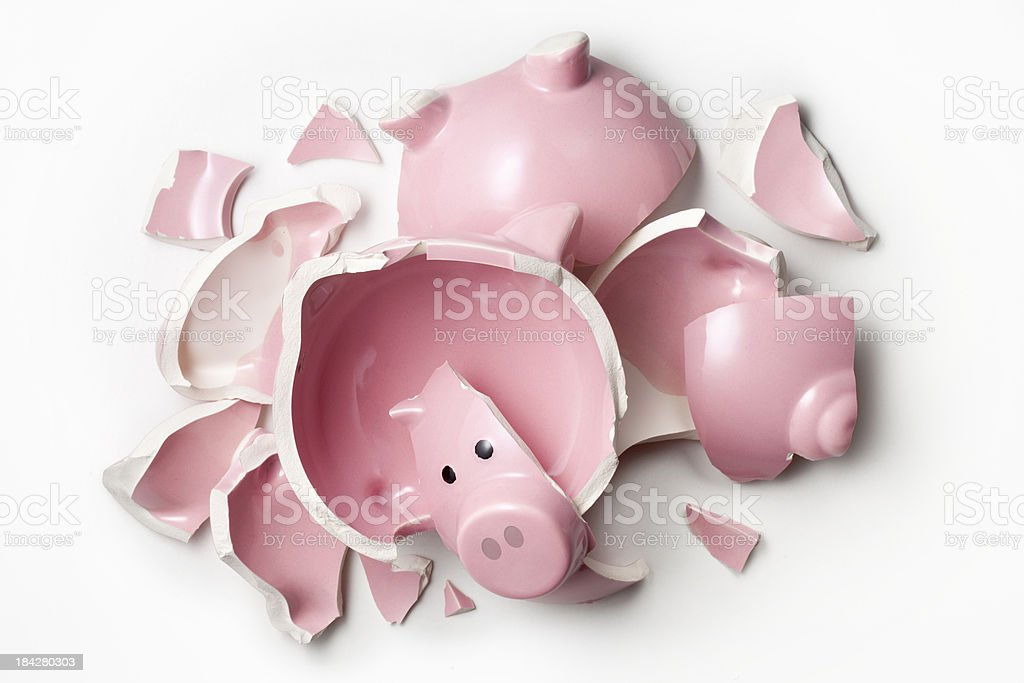 Broken piggy bank. stock photo