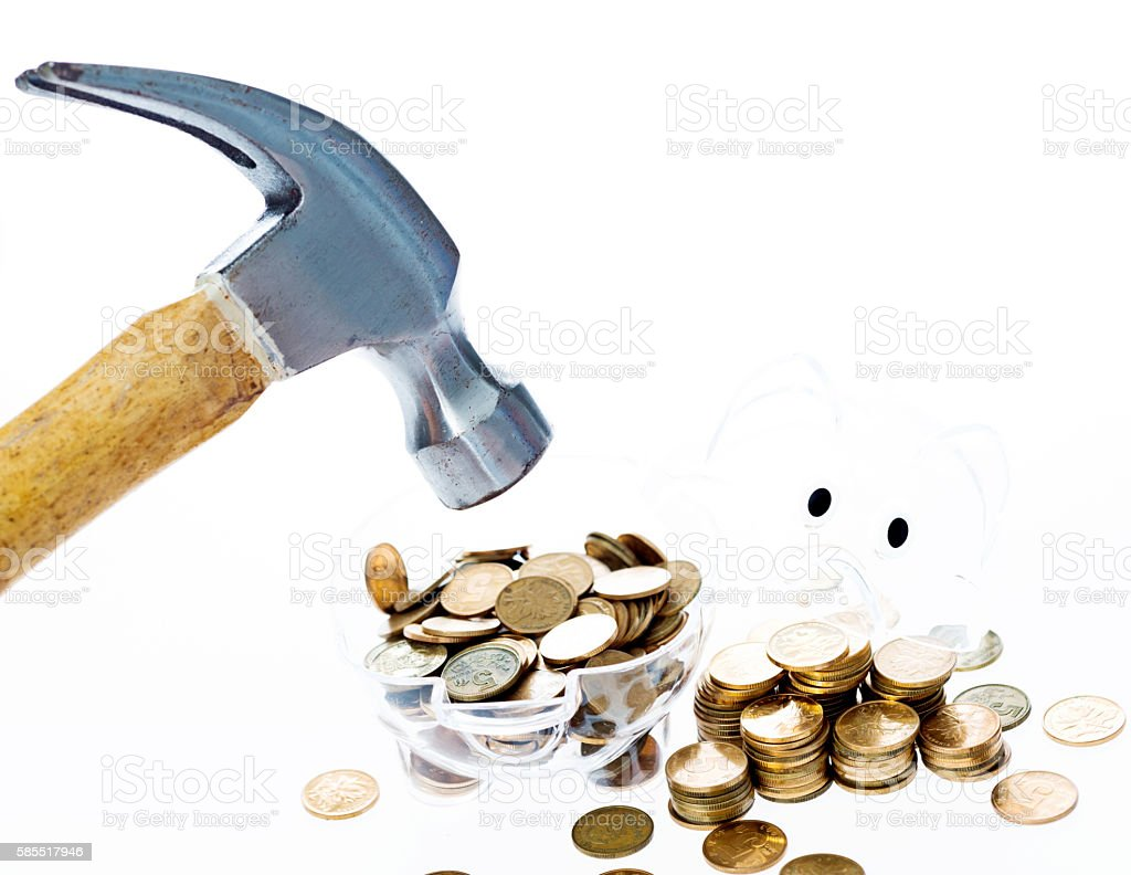 Broken piggy bank stock photo