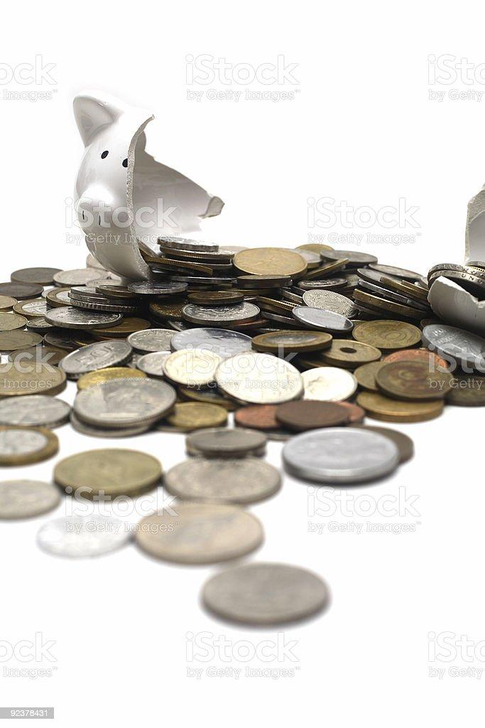 Broken Piggy Bank (on white) royalty-free stock photo