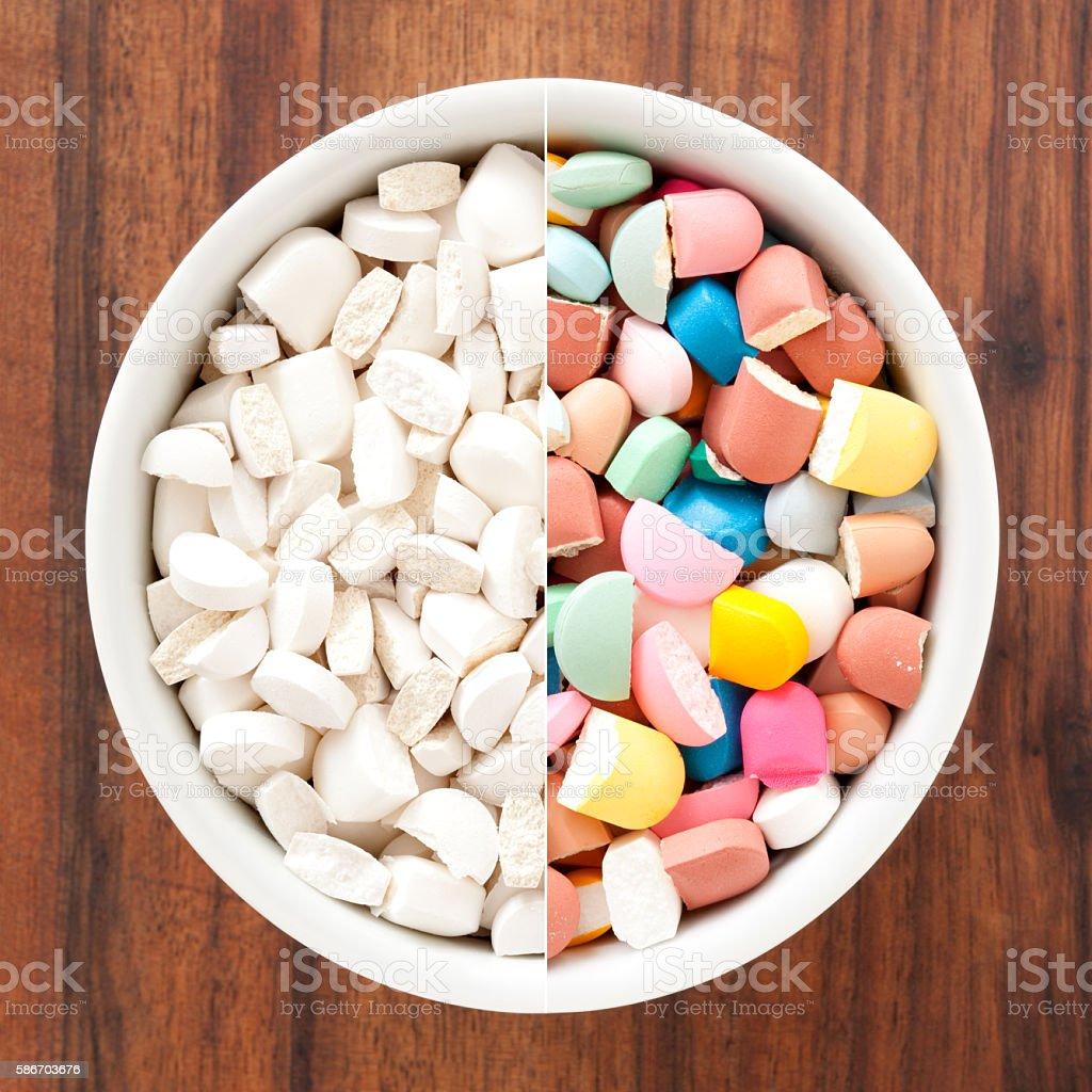 Broken pills composition stock photo